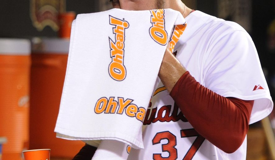 St. Louis Cardinals' reliever Pat Neshek wipes his face after giving up four runs to the Chicago Cubs in the eighth inning of a baseball game, Friday, Aug. 29, 2014, at Busch Stadium in St. Louis. (AP Photo/Bill Boyce)