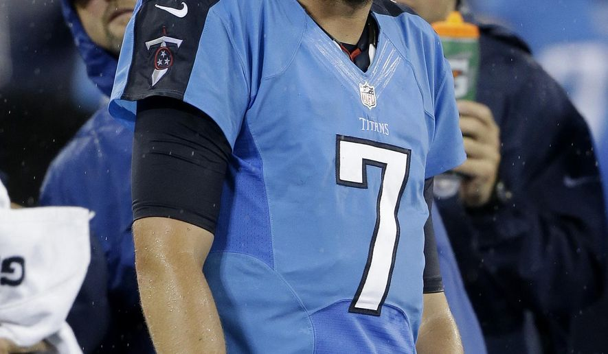Tennessee Titans quarterback Zach Mettenberger (7) looks up at the scoreboard from the sideline in the third quarter of the Titans' 19-3 loss to the Minnesota Vikings in a preseason NFL football game Thursday, Aug. 28, 2014, in Nashville, Tenn. (AP Photo/Wade Payne)