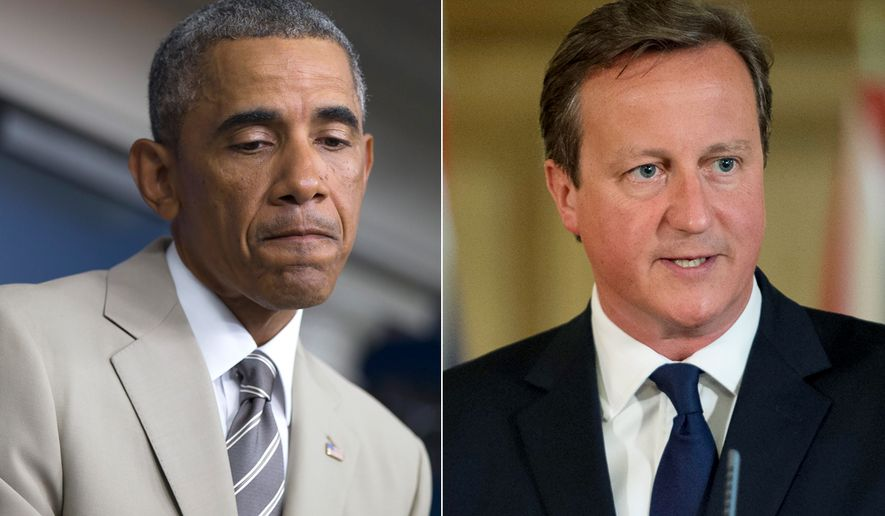 Photo illustration with President Barack Obama and British Prime Minister David Cameron.