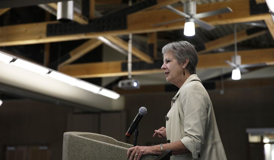 Assistant Secretary of the Interior Anne Castle speaks at The Business of Water conference Friday, Aug. 29, 2014, in Las Vegas. Castle spoke about water issues along the Colorado River system. (AP Photo/John Locher)