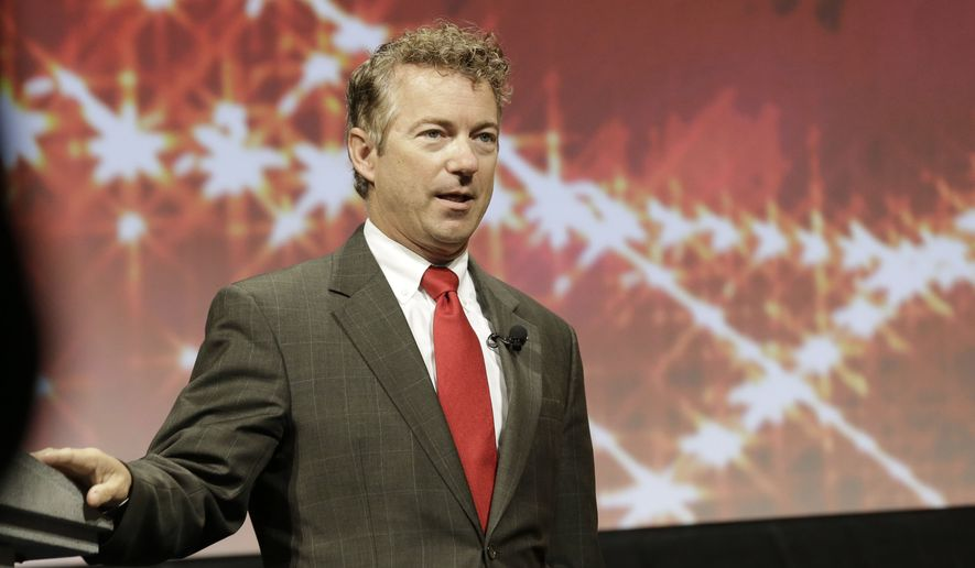 **FILE** Kentucky Sen. Rand Paul speaks at the Americans for Prosperity gathering in Dallas on Aug. 29, 2014. (Associated Press)
