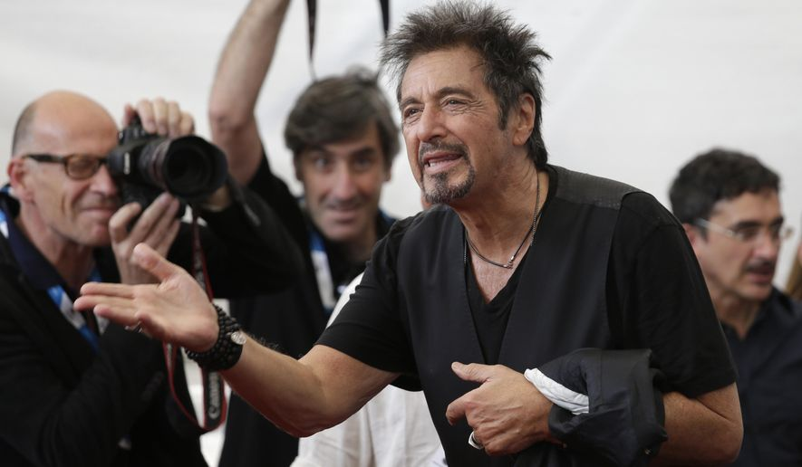 Actor Al Pacino poses for photographers during a photo call for the movie Manglehorn during the 71st edition of the Venice Film Festival in Venice, Italy, Saturday, Aug. 30, 2014. (AP Photo/David Azia)