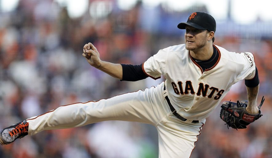San Francisco Giants' Jake Peavy works against the Milwaukee Brewers in the second inning of a baseball game Saturday, Aug. 30, 2014, in San Francisco. (AP Photo/Ben Margot)