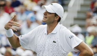 John Isner, of the United States, reacts after a shot Philipp Kohlschreiber, of Germany, during the third round of the 2014 U.S. Open tennis tournament, Saturday, Aug. 30, 2014, in New York. (AP Photo/Darron Cummings)