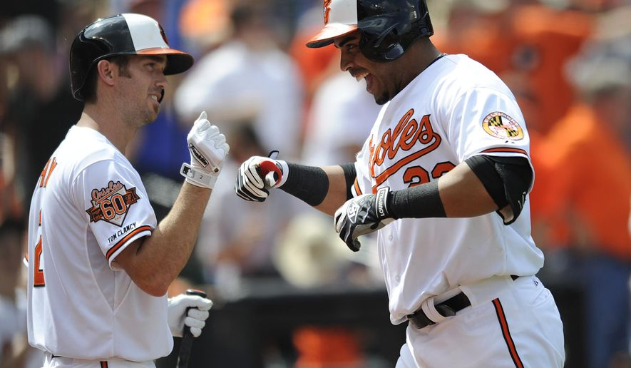 Baltimore Orioles' Nelson Cruz, right, is congratulated  by teammate J.J. Hardy after hitting a solo home run against the Minnesota Twins in the third inning of a baseball game, Sunday, Aug. 31, 2014, in Baltimore. (AP Photo/Gail Burton)