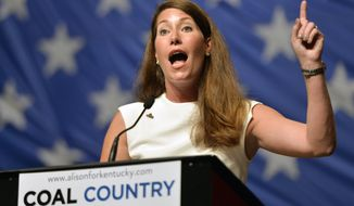 "FILE- This Aug. 8, 2014, file photo shows Kentucky Democratic senatorial candidate Alison Lundergan Grimes as she speaks to a group of supporters during a political rally at the Hal Rogers Center in Hazard, Ky. The first midterm elections since both parties embraced a historic change in campaign finance, and with it a sea of campaign cash, will mean for most voters an avalanche of television ads trying to reach the few able to be swayed and willing to vote. In the nation's closest races for U.S. Senate, that translates into ""price per vote"" that could easily double what was spent in the 2012 presidential election. (AP Photo/Timothy D. Easley, File)"