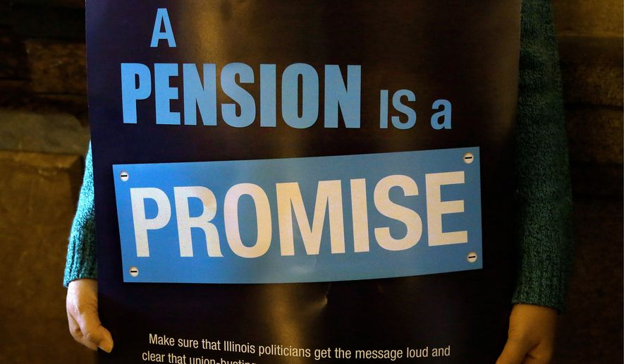 "In this Jan. 3, 2013 photo, a ""Pension Promise"" sign is seen as Illinois state union members and supporters rally in support for fair pension reform in the at the Illinois State Capitol in Springfield Ill. Illinois Gov. Pat Quinn announced what could be a significant advance on pension reform, saying the powerful House speaker was willing to forgo the dicey issue of teachers retirement costs in order to fix the worst-in-the-nation pension deficit. (AP Photo/Seth Perlman)"