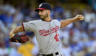 Washington Nationals Gio Gonzalez pitches in the first inning of a baseball game against the Los Angeles Dodgers, Monday, Sept. 1, 2014, in Los Angeles. (AP Photo/Gus Ruelas)