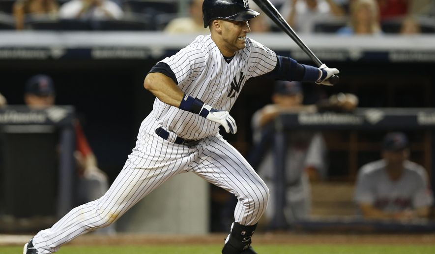 New York Yankees' Derek Jeter leaves the batter's box with a fifth-inning RBI single during a baseball game against the Boston Red Sox at Yankee Stadium in New York, Tuesday, Sept. 2, 2014. Brian McCann scored on the play. (AP Photo/Kathy Willens)