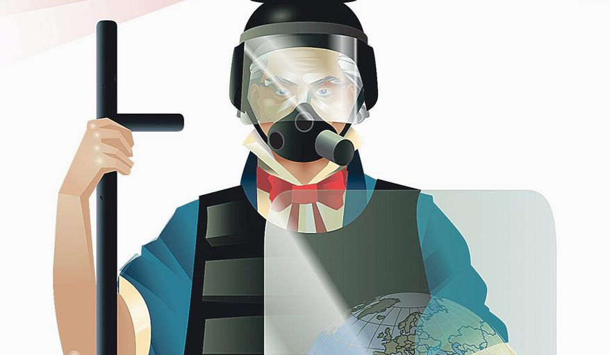 Illustration on America as the world's policeman by Linas Garsys/The Washington Times