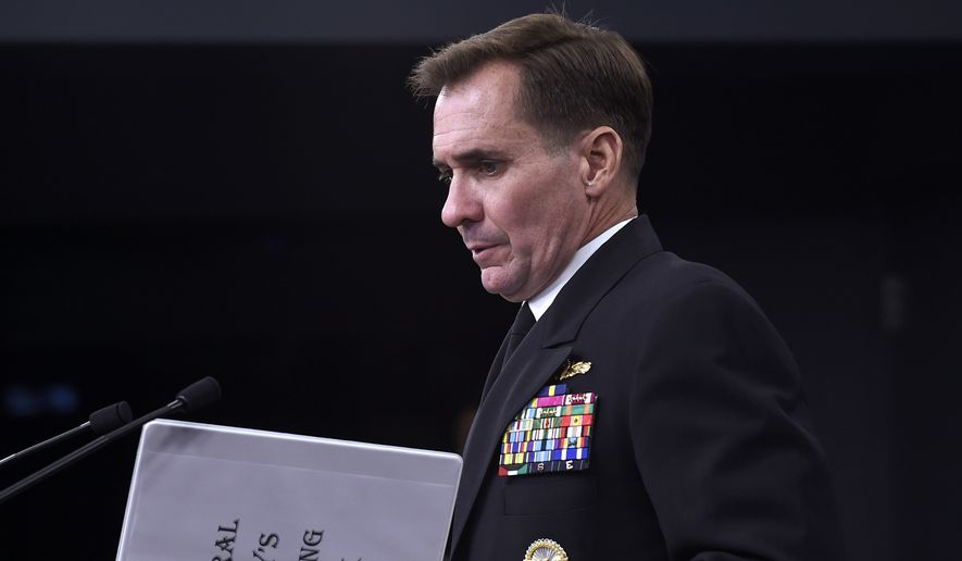 Pentagon press secretary Navy Rear Adm. John Kirby arrives for a briefing at the Pentagon, Tuesday, Sept. 2, 2014. The Pentagon says the leader of the Somalia-based al-Shabab extremist group was the target of U.S. military airstrikes that struck an encampment and a vehicle Monday night. Kirby said the results of the strike are being assessed and he can't confirm if Somali Ahmed Abdi Godane, the rebel leader, was hit.  He says the strike against Godane was conducted by special operations forces with manned and unmanned aircraft firing hellfire missiles and precision-guided munitions.  (AP Photo/Susan Walsh)