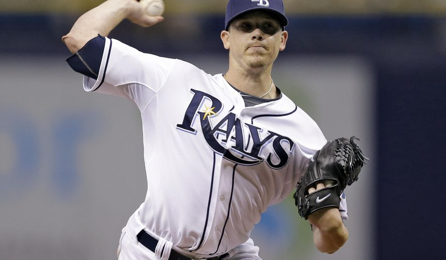 Tampa Bay Rays starting pitcher Jeremy Hellickson delivers to the Toronto Blue Jays during the first inning of a baseball game Tuesday, Sept. 2, 2014, in St. Petersburg, Fla. (AP Photo/Chris O'Meara)