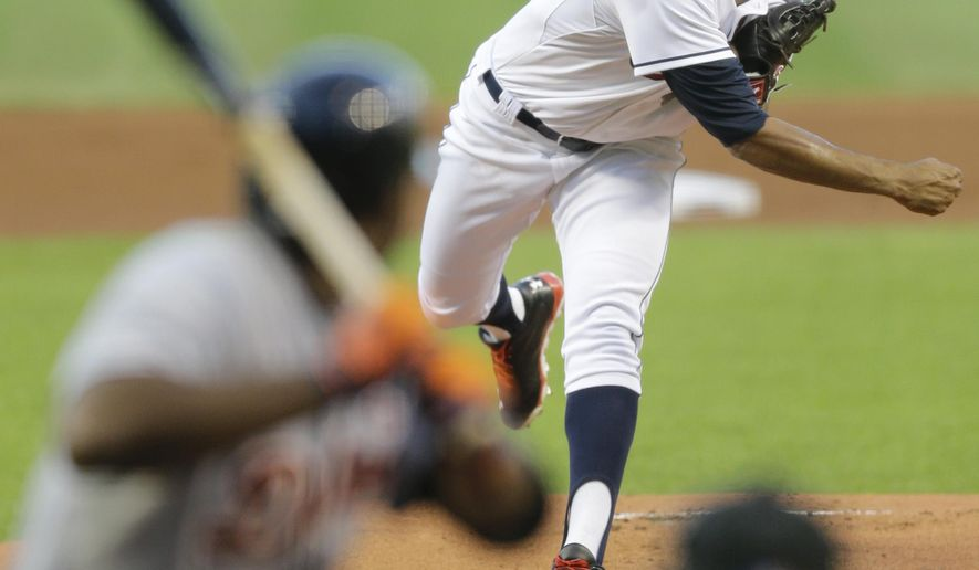 Cleveland Indians starting pitcher Danny Salazar delivers to Detroit Tigers' Torii Hunter in the first inning of a baseball game, Wednesday, Sept. 3, 2014, in Cleveland. (AP Photo/Tony Dejak)