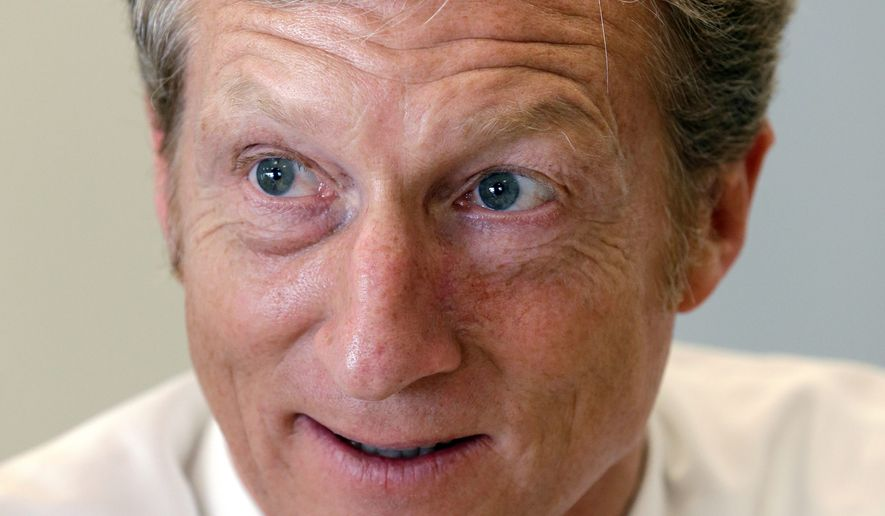 Businessman and liberal billionaire donor Tom Steyer has released several ads attacking Republicans for taking money from the Koch brothers. (Associated Press)