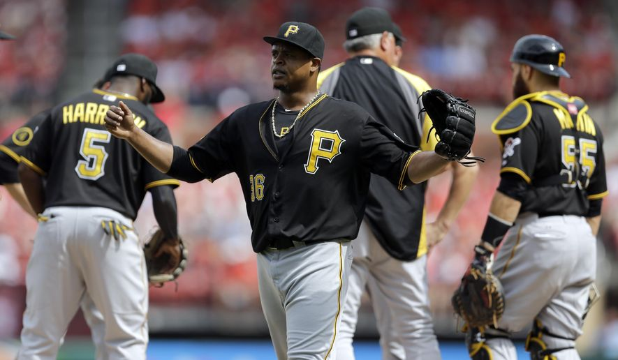 Pittsburgh Pirates starting pitcher Edinson Volquez raises his arms after being pulled out of a baseball game against the St. Louis Cardinals during the seventh inning Wednesday, Sept. 3, 2014, in St. Louis. The Cardinals won 1-0. (AP Photo/Jeff Roberson)