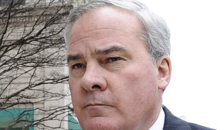 Former Connecticut Gov. John G. Rowland arrives at federal court in New Haven, Conn., in this April 11, 2014, file photo. Rowland is due back in federal court as a criminal defendant, almost a decade after pleading guilty to political corruption. Rowland faces a conspiracy trial this time, accused of scheming to hide political consulting work for two campaigns. (AP Photo/Jessica Hill)