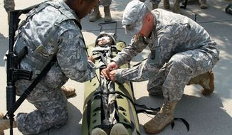 Soldiers prepare a SKED litter during a medical evacuation class at Aberdeen Proving Ground, Md., Aug. 8, 2014.  (U.S. Army National Guard)