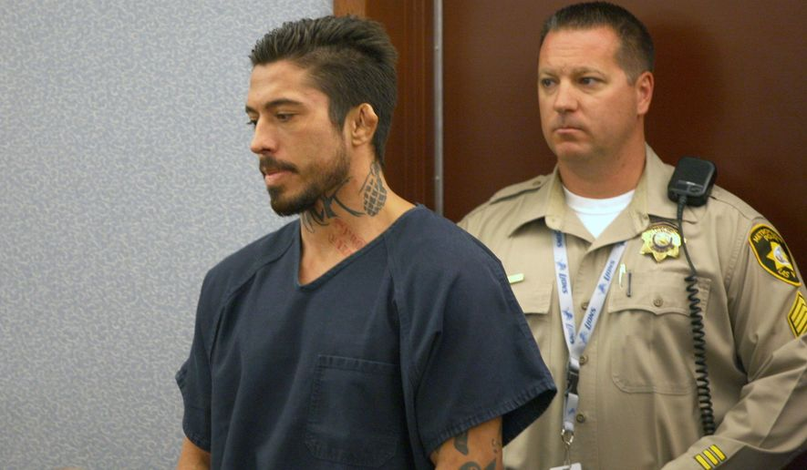 Jonathan Paul Koppenhaver, a mixed martial arts fighter known as War Machine, appears in court Wednesday, Sept. 3, 2014, in Las Vegas. Koppenhaver was scheduled for arraignment Wednesday on battery, lewdness, assault and coercion charges in the Aug. 8 attack on adult film actress Christy Mack and her male friend at a Las Vegas home, but prosecutors charged him with additional felonies including kidnapping and assault and accused him of attacking Mack multiple times over 15 months.  (AP Photo/Las Vegas Review-Journal, Michael Quine)