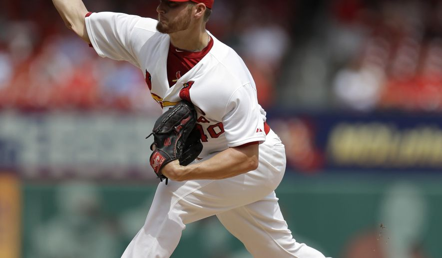 St. Louis Cardinals starting pitcher Shelby Miller throws during the first inning of a baseball game against the Pittsburgh Pirates Wednesday, Sept. 3, 2014, in St. Louis. (AP Photo/Jeff Roberson)