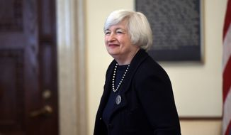 Federal Reserve Chair Janet Yellen arrives for a Board of Governors meeting at the Federal Reserve in Washington, Wednesday, Sept. 3, 2014. The meeting is to discuss a final rulemaking to implement a quantitative liquidity requirement in the United States as well as a proposed rule on margin requirements for non-cleared swaps of prudentially regulated swap entities. (AP Photo/Susan Walsh)