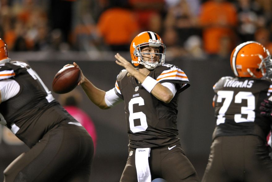 10. CLEVELAND BROWNS - Cleveland Browns quarterback Brian Hoyer passes against the Buffalo Bills in the first quarter of an NFL football game Thursday, Oct. 3, 2013, in Cleveland. (AP Photo/David Richard)