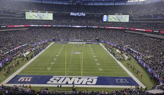 Fans watch during opening ceremonies before an NFL football game between the New York Giants and the Green Bay Packers at MetLife Stadium Sunday, Nov. 17, 2013, in East Rutherford, N.J.  (AP Photo/Peter Morgan)