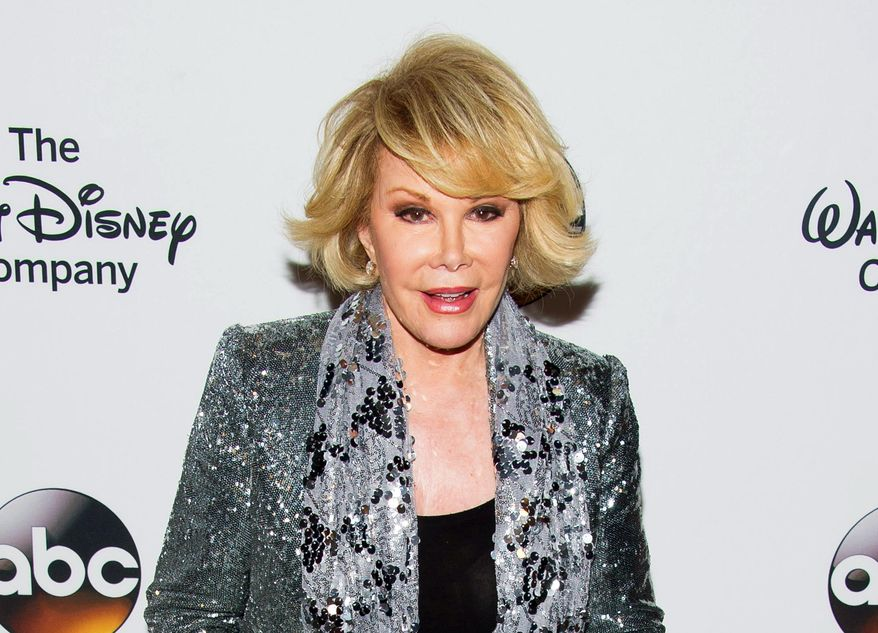 FILE - In this May 14, 2014 file photo, TV personality Joan Rivers attends A Celebration of Barbara Walters in New York. Rivers died Thursday, Sept. 4, at 81. The New York state health department is investigating the circumstances surrounding Joan Rivers' cardiac arrest during an outpatient procedure. Rivers was hospitalized Aug. 28, after going into cardiac arrest at a doctor's office. (Photo by Charles Sykes/Invision/AP, File)