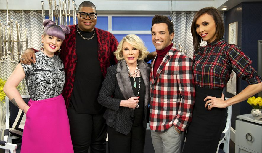 "This image released by E! Entertainment shows, from left, Kelly Osbourne, EJ Johnson, Joan Rivers, George Kotsiopoulos, and Giuliana Rancic on the set of ""Fashion Police."" Taping for Joan Rivers' E! network show ""Fashion Police"" has been put on hold, the network confirmed Thursday. Rivers remains hospitalized at Mount Sinai Hospital in New York. Rivers hosts the show and her daughter, Melissa Rivers, is its executive producer.  (AP Photo/E!, Brandon Hickman)"
