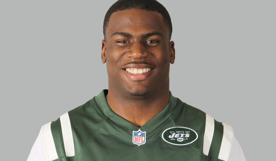 "FILE - This is a 2014 file photo shows Quincy Enunwa of the New York Jets NFL football team.  Enunwa, from the Jets' practice squad, was arrested this week after being accused of fighting at a New Jersey hotel near the team's practice facility. Florham Park police say he was charged Sunday, Aug. 31, 20134, with simple assault and later released on his own recognizance after ""an altercation with an individual.""  (AP Photo/File)"