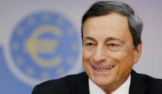 President of European Central Bank Mario Draghi talks during a news conference in Frankfurt, Germany, Thursday,  Sept. 4, 2014, following a meeting of the ECB governing council. The European Central Bank has cut its interest rates and announced a new stimulus program that involves buying financial assets, a bid to salvage a weak economic recovery. (AP Photo/Michael Probst)