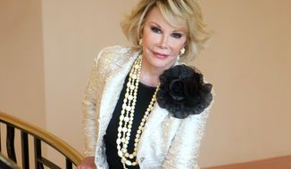"FILE - This Oct. 5, 2009 file photo shows Joan Rivers posing as she presents ""Comedy Roast with Joan Rivers "" during the 25th MIPCOM (International Film and Programme Market for TV, Video, Cable and Satellite) in Cannes, southeastern France. In October 1986, Rivers made TV history as the first woman hosting a late-night broadcast talk show. She was the first face of the Fox network, headlining its first program, ""The Late Show Starring Joan Rivers.""  (AP Photo/Lionel Cironneau, File)"