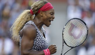 Serena Williams, reacts after a shot against Caroline Wozniacki, of Denmark, during the championship match of the 2014 U.S. Open tennis tournament, Sunday, Sept. 7, 2014, in New York. (AP Photo/Darron Cummings)