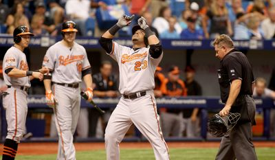 Umpire Greg Gibson, right, Baltimore Orioles left fielder David Lough,left, and  Chris Davis (19) watch as designated hitter Nelson Cruz (23) celebrates his two run home run during the sixth inning of a baseball game against the Tampa Bay Rays on Sunday, Sept. 7, 2014 in St. Petersburg, Fla.. (AP Photo/Reinhold Matay)