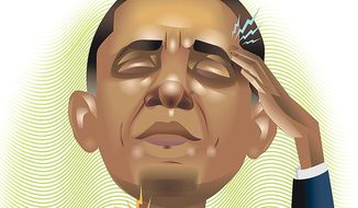 Illustration on Obama's fantasist view of civilization's future by Linas Garsys/The Washington Times