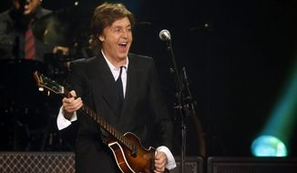 ** FILE ** In this June 8, 2013, file photo, Paul McCartney performs during a concert at the Barclays Center in New York. Bob Dylan, Billy Joel and Willie Nelson are among the artists performing McCartney songs in a massive tribute to the former Beatle due out in November. (Photo by Jason DeCrow/Invision/AP, File)