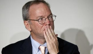 """** FILE ** Google Executive Chairman Eric Schmidt gestures during a meeting about the """"right to be forgotten"""" in Madrid, Sept. 9, 2014. Google Chairman Eric Schmidt and privacy and freedom of information experts are holding the first of seven public sessions to help the company define a new """"Right to be Forgotten"""" established by the European Union's top court and when it should take down search result links about citizens claiming information about them is irrelevant or obsolete. (AP Photo/Daniel Ochoa de Olza)"""