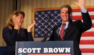Scott Brown, a former U.S. Senator from Massachusetts, won New Hampshire's Republican U.S. Senate primary on Tuesday. (AP Photo/Jim Cole)