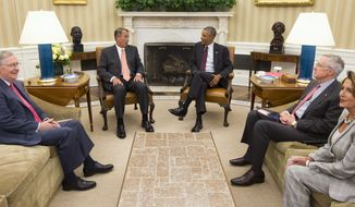 President Obama meets with congressional leaders in the Oval Office on Tuesday to discuss options for combating the Islamic State. (AP Photo/Evan Vucci)