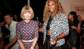 Anna Wintour and Serena Williams pose at the MBFW Spring/Summer 2015 Signature by Serena Williams fashion show on Tuesday, Sept.  9, 2014, in New York. (Photo by Amy Sussman/Invision/AP)