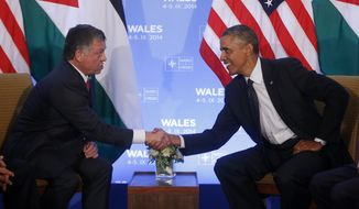 FILE - In this Thursday, Sept. 4, 2014, file photo, President Barack Obama shakes hands with Jordan's King Abdullah II during their meeting at the NATO summit at Celtic Manor in Newport, Wales. As the United States looks to stitch together a coalition to tackle the extremist Islamic State group, the Obama administration will have to overcome the reluctance of Mideast allies who are deeply frustrated with a White House that they believe has been naive, fickle and weak on Syria's civil war. (AP Photo/Charles Dharapak, File)
