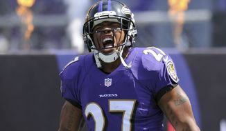 FILE - In this Sept. 15, 2013, file photo, Baltimore Ravens running back Ray Rice yells during his introduction before a NFL football game against the Cleveland Browns in Baltimore. Rice was let go by the Ravens on Monday, Sept. 8, 2014, and suspended indefinitely by the NFL after a video was released that appears to show the running back striking his then-fiancee in February. (AP Photo/Nick Wass, File)