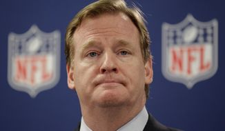 """CORRECTS TO FIVE MONTHS AGO, INSTEAD OF THREE - FILE - In this May 22, 2012, file photo, NFL Commissioner Roger Goodell pauses during a new conference in Atlanta. A law enforcement official says he sent a video of Ray Rice punching his then-fiancee to an NFL employee five months ago, while league executives have insisted they didn't see the violent images until they were published this week. The person played The Associated Press a 12-second voicemail from an NFL office number confirming the video arrived on April 9. A female voice expresses thanks for providing the video and says: """"You're right. It's terrible."""" Goodell sent a memo on Wednesday, Sept. 10, 2014, to the 32 teams reiterating that the NFL never saw the video until Monday, Sept. 8. (AP Photo/David Goldman, File)"""
