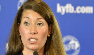 Kentucky Democratic Senate candidate Alison Lundergan Grimes speaks in Louisville, Ky., in this Aug. 20, 2014, file photo. Grimes will face Senate Minority Leader Mitch McConnell in the general election for U.S. Senate.  (AP Photo/Timothy D. Easley, File)