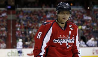 Washington Capitals right wing Alex Ovechkin (8), from Russia, skates on the ice during a pause in the action in the second period of an NHL hockey game against the Tampa Bay Lightning, Sunday, April 13, 2014, in Washington. (AP Photo/Alex Brandon)