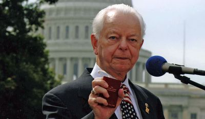 The late Sen. Robert C. Byrd of West Virginia with his pocket Constitution. (Courtesy Robert C. Byrd Archive, Shepherd University)
