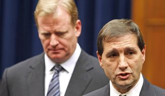 "FILE - In this Oct. 14, 2011, file photo, NFL football lead counsel Jeff Pash, right, accompanied by NFL Commissioner Roger Goodell, speaks with reporters on Capitol Hill in Washington, after a meeting to discuss HGH testing for NFL players. The two NFL owners overseeing the investigation into how the league pursued and handled evidence in the Ray Rice domestic violence case pledged Thursday, Sept. 11, 2014 to make the findings of the probe public, and said their goal was ""to get the truth."" (AP Photo/Haraz N. Ghanbari, File)"