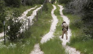 In this Sept. 5 file photo, a U.S. Customs and Border Protection Air and Marine agent looks for signs along trail while on patrol near the Texas-Mexico border near McAllen, Texas. (AP Photo/Eric Gay, File)