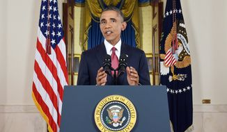"""President Obama said Wednesday he had authorized U.S. airstrikes inside Syria for the first time, along with expanded strikes in Iraq, as part of """"a steady, relentless effort"""" to root out Islamic State extremists. (AP Photo/Saul Loeb, Pool)"""