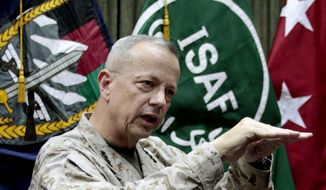 Gen. John Allen gestures during an interview with the Associated Press in Kabul, Afghanistan, in this July 22, 2012, file photo. (AP Photo/Musadeq Sadeq, File)