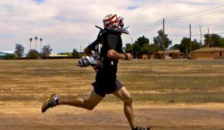 "A jetpack for the Pentagon's ""4-minute mile"" project shaves 18 seconds off an individual's 1-mile time. (Image: Arizona State University)"